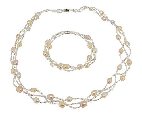 Elegante collar de perlas naturales de agua dulce rosa y pendientes de perlas