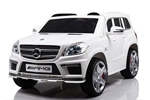 Mondial Toys Auto Macchina ELETTRICA 12V Per Bambini Mercedes GL63 AMG Con Sedile In Pelle Ruote In Gomma Telecomando Bianca