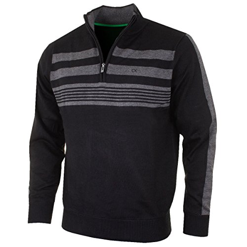 Calvin Klein Golf Mens CK Stripeblock doublé Pull - Noir -...