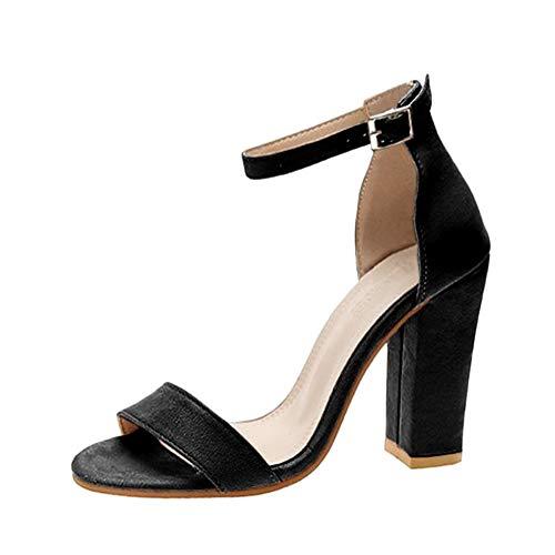 Minetom Damen Sandaletten High Heels Pumps mit Blockabsatz Hoher Absatz Sexy Offene Zehen Knöchelriemen Abend Party Sandalen Große Größe A Schwarz 34 EU