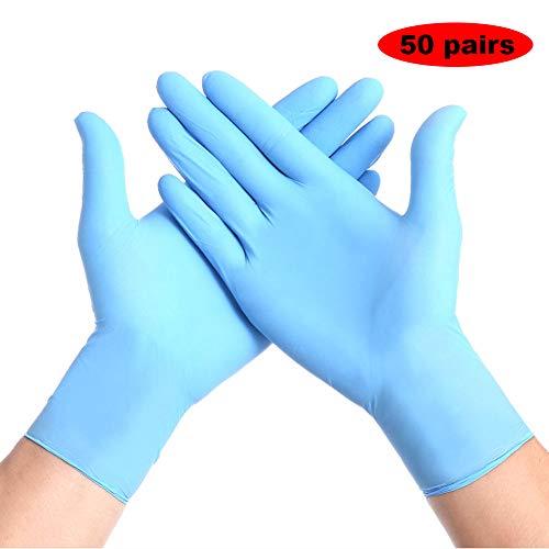 Medical Handschuhe Nitril, Handschuhes Einweg Virenschutz, Puderfrei, Unsteril, Handschuhe Arbeitshandschuhe füR Arbeit, KüChe, Haushalt, Lebensmittel, Blau, 100 Pcs,L