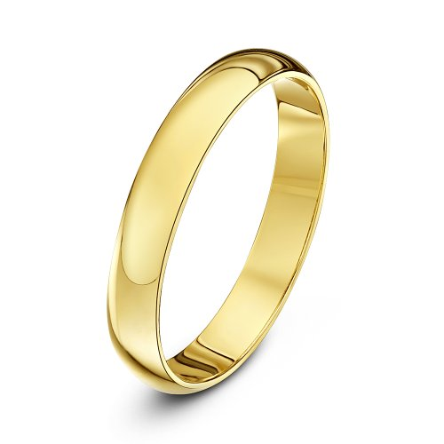 Theia Unisex Super Heavy Weight 3 mm D Shape 9 ct Yellow Gold Wedding Ring - I