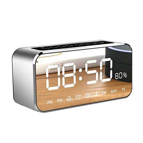 HYTGFR Drahtloser Bluetooth-Lautsprecher Spiegel Flugzeuguhr Bluetooth-Audiotelefon Subwoofer mit Steckkarte Große Kapazität Batterie-Radio, Space Silber