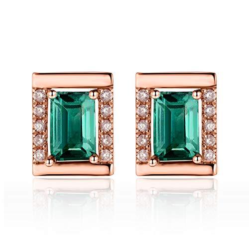 ANAZOZ Pendientes Mujer Esmeralda,Pendientes Mujer Oro Rosa 18 Kilates Oro Rosa Verde Rectángulo Esmeralda Verde 1.24ct Diamante 0.16ct