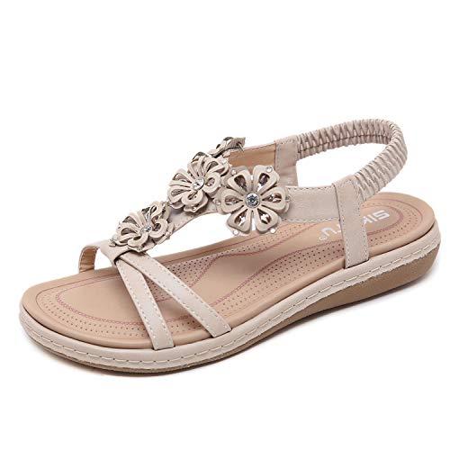 ZAPZEAL Damen Damen Diamante Jelly Sandalen Sommer Strand Flip Flops Toe Post Schuhe,Aprikose 39 EU
