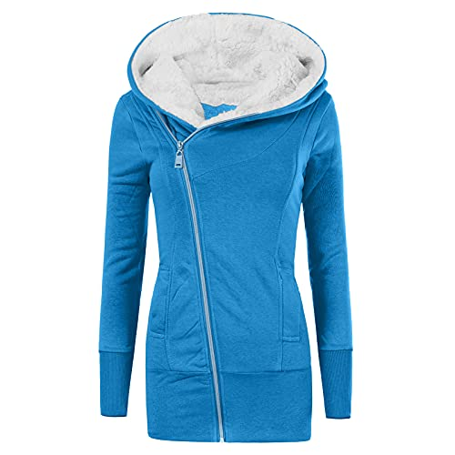 Fankle Women's Hooded Workout Coat Solid Cotton Hoodie Sweatshirt Winter Warm Fleece Padded Coat Slim Thick Zipper Coat(D#Light Blue,X-Large)