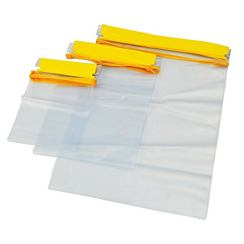Meetory Clear Waterproof Bags Pouch Dry Bags for Camera Mobile Phone Maps Kayak Document Holder - 3 Piece Set Waterproof Plastic Pouch Utility Bags