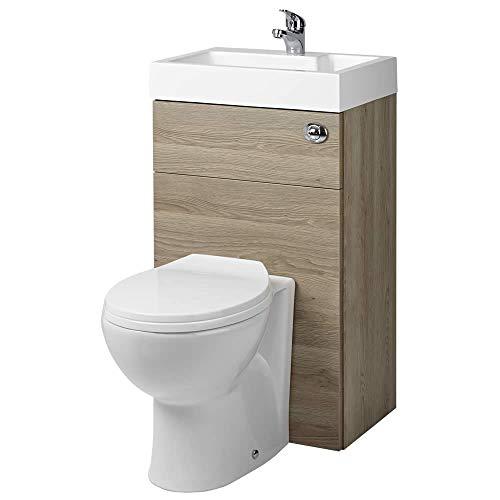Hudson Reed WC-Kombination Splash 2 - Einteiliges WC mit Spülmechanismus im Wandschrank mit integriertem Aufsatzwaschbecken - Platzsparend und praktisch für Gäste WCs und kleine Badezimmer - Eiche