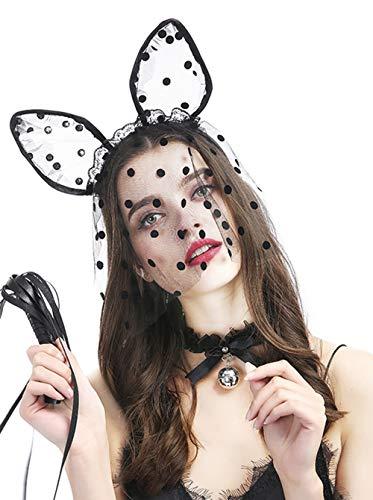 FxMimio Lolita Halsband mit Schleife, Glöckchen und Halsband, Schwarz, ideal für Halloween