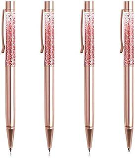 أقلام حبر جاف وقلم رصاص رصاص سائل ديناميكي أحمر ذهبي 4 قطع من أقلام الحبر الأسود لللوازم المكتبية