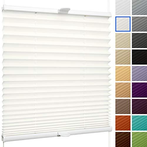 SchattenFreude Plissee nach Maß für Fenster & Tür | Zum Anschrauben in der Glasleiste | Naturweiß, Breite: 200-500mm x Höhe: 300-1000mm