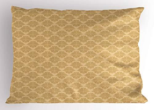 ABAKUHAUS retro Siersloop voor kussen, Classic Damast Victorian, standaard maat bedrukte kussensloop, 65 x 50 cm, Licht bruin