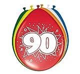 Folat - 90 Año Globos para Fiesta Decoración - Multicolor - 12In/30cm - 8 Piezas