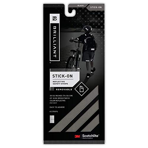 Brilliant Reflective Reflector Strips - Stick-On (Black) - extremely reflective strips with 3M Scotchlite reflective material