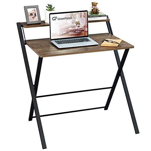 GreenForest Folding Desk No Assembly Required, 2 Tier Computer Desk with Shelf Space Saving Small Foldable Table Workstation, Brown
