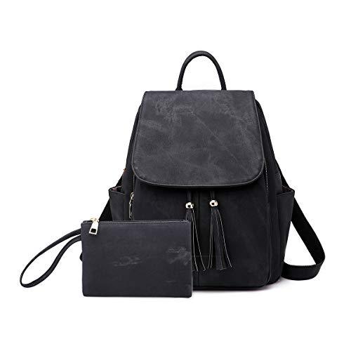 NICOLE & DORIS Rucksack für Damen wasserdichte Schulrucksack Leichtgewicht Umhängetasche Anti Diebstahl Daypack Schwarz