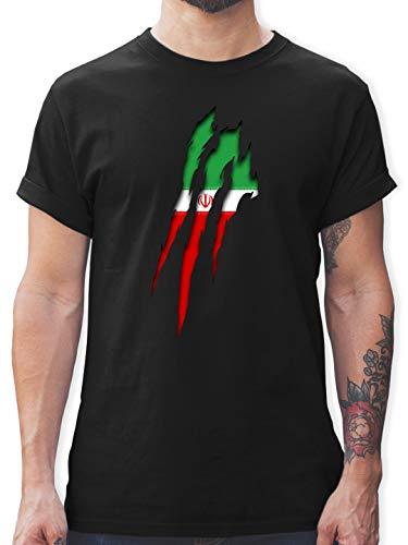 Fußball-Europameisterschaft 2021 - Iran Krallenspuren - XXL - Schwarz - Herren Marken - L190 - Tshirt Herren und Männer T-Shirts