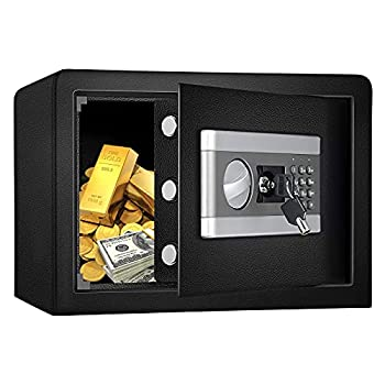Fireproof and Waterproof Safe Cabinet Security Box Digital Combination Lock Safe with Keypad LED Indicator for Cash Money Jewelry Guns Cabinet  Black   0.8cub