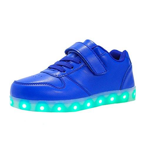 Voovix Unisex-Kinder Licht Schuhe mit Fernbedienung Led Leuchtende Blinkende Low-top Sneaker USB Aufladen Shoes für Mädchen und Jungen(Blau,EU31/CN31)