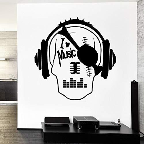 Amo la música calcomanías de pared pirata cráneo escuchando música auriculares vinilo pegatinas de pared estilo fresco dormitorio hombre cueva decoración del hogar mural