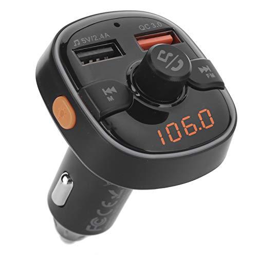 Xuzuyic Transmisor Bluetooth inalámbrico FM, Adaptador de Audio, Reproductor de música, Kit para automóvil con retroiluminación LED, Llamadas Manos Libres, 2 Puertos USB, música de Alta fidelidad