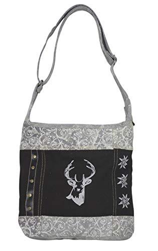 Domelo kleine Umhängetasche Trachtentasche Damen Dirndl schwarz graue Tasche Oktoberfest Accessories Mädchen mit Hirsch Kleine Geschenke für Teenager Crossbody Bag Vintage Retro Handtasche aus Canvas