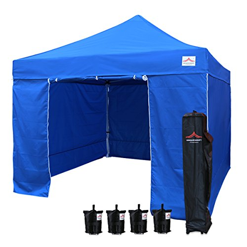 UNIQUECANOPY 10'x10' Ez Pop Up Canopy Tent Commercial Instant Shelter, with 4 Removable Zippered Side Walls and Heavy Duty Roller Bag, 4 Sand Bags Blue