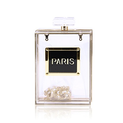 EVEOUT Mujeres Acrílico París Perfume Forma Bolsos de noche Monederos Embrague Vintage...