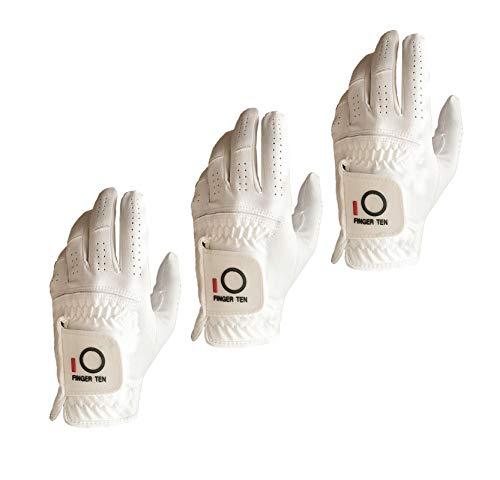 FINGER TEN Golfhandschuh Herren Linke Hand 3 Schwarz Weiß Mikrofaser Allwetter Regentag Passen Rechtshänder Golfer Golf Handschuh Links Griff Weicher Komfort Haltbarkeit White-3 M/L