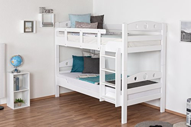 Stockbett für Erwachsene Easy Premium Line  K11 n 1, Kopf- und Futeil mit Lchern, Buche Vollholz massiv Wei - 90 x 190 cm (B x L), teilbar
