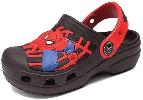 ROKIDS Kids Spiderman Hole Shoes Toddlers Boys Beach Sandals Clogs Black | 8-9 Little Kid