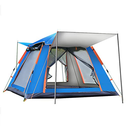 LFANH Automatic Pop Up Camping Tent, 2-3 Persons Lightweight Tent, Portable Pop Up Gazebo Waterproof, UV Protection, for Beach, Outdoor, Traveling, Hiking, Camping, Hunting,Blue