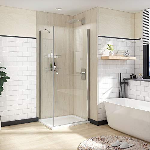 WELMAX Duschkabine 90x75 cm Eckeinstieg Duschabtrennung Duschtür Pendeltür mit Seitenwand Dusche Schwingtür Duschwand 6mm Sicherheitsglas mit Nano Beschichtung Höhe 185cm