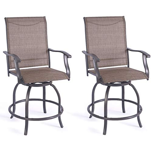 Kozyard Isabella High Swivel Bar Stools/Chair Set for Home Patio, Back Yard, Cafes, Bistro, Restaurants and Chic Bars (Textilence)