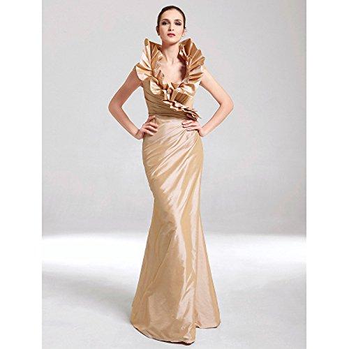 kekafu Mermaid/Trompete V-Ausschnitt Hofschleppe Bettwäsche Prom Formale Abendkleid mit Perlenstickerei Spitze Sarahbridal, Braun, US8/UK 12 / EU 38