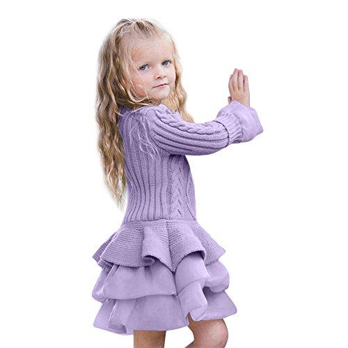 Unbekannt Allence Kleinkind Baby Mädchen Kleid Patchwork Bogen Kleider Tüll Tütü Urlaub Prinzessin Freizeit Winter Stricken Outfit Kleidung