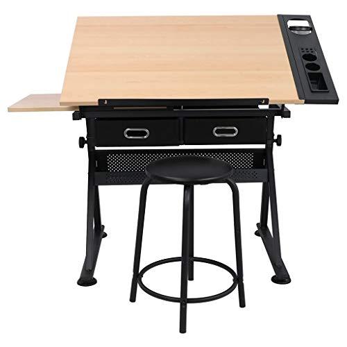 Lgan Zeichentisch Höhenverstellbar, Mit Lagerung Schreibtisch, Ahornscheibe Zeichenbrett, Kinder Maltisch