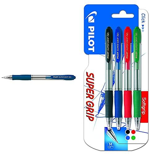 Pilot 495518 Bolígrafo (Azul, Azul, Transparente), 12 unidades, medio + Spain Super Grip Pack de 4 bolígrafos, punto medio, multicolor