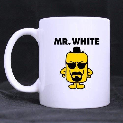 Preciosa linda caricatura Mr White (Twin Side) Taza de cerámica blanca personalizada Taza de café (11 onzas)