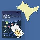 Prepaid-SIM-Karte für Indien, Bangladesch, Pakistan - Unbegrenzt / 14 Tage, Südpazifik 3 Länder GMYLE 4G LTE 3G-Reisedaten, Online-Support Aufladen (Keine Nachricht & kein Anruf, entsperrtes Telefon)