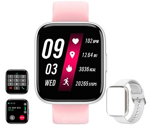 Smart Watch Receive/Make Call,Fitness Tracker with 1.54'' Full Touch Life Water-Resistant SpO2 Heart Rate Sleep Monitor,Step/Calorie,Bluetooth Call Smart Watch for Women Men Android iOS Phone (White)
