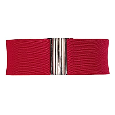 GRACE KARIN Vintage Wide Metal Buckle Stretchy Waist Belt Muticolored CL409 (Small, White)