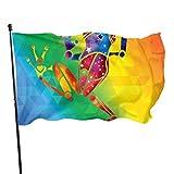 fingww Fahne Aquarell Frosch Hof Banner 90X150Cm Haus Garten Flagge Urlaub Bunte Lebendige Standard Outdoor Klassische Saison Hübsch Willkommen