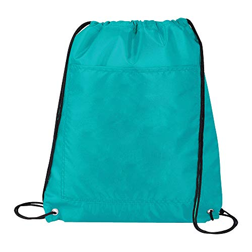 Insulated Cinch Sack - Cooler Backpack - Teal Cinch Sack - Insulated Cooler Backpacks, Outer Slip Pocket, Teal, BG-105.