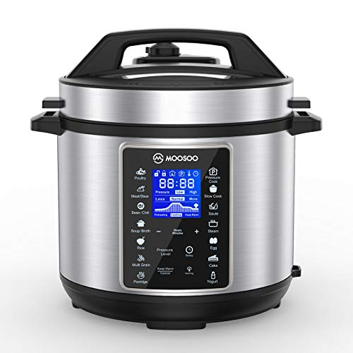 MOOSOO 10-in-1 Electric Pressure Cooker, 6 Quart Stainless Steel instant...