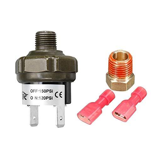 LiHaQin 1 Juego 1/8'a 1/4' Control del Interruptor de presión del Tanque del compresor de Aire del Adaptador del Conector NPT 70/90/100/120/150/180 PSI para 12V 24V LiHaQin (Color : 120 150PSI)