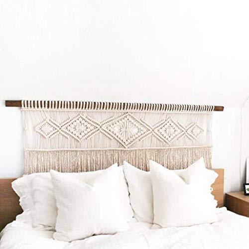 XCJJ Tapiz de pared tejido a mano para colgar en la cama, tapiz de pared tejido de macramé, decoración de pared elegante bohemia para dormitorio, decoración de fondo de cabecera con borlas,C_140 * 50