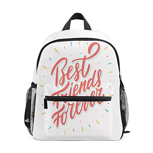 Kids Backpacks School Book Bag,Best Friends Forever Cursive Lettering Cute Illustration