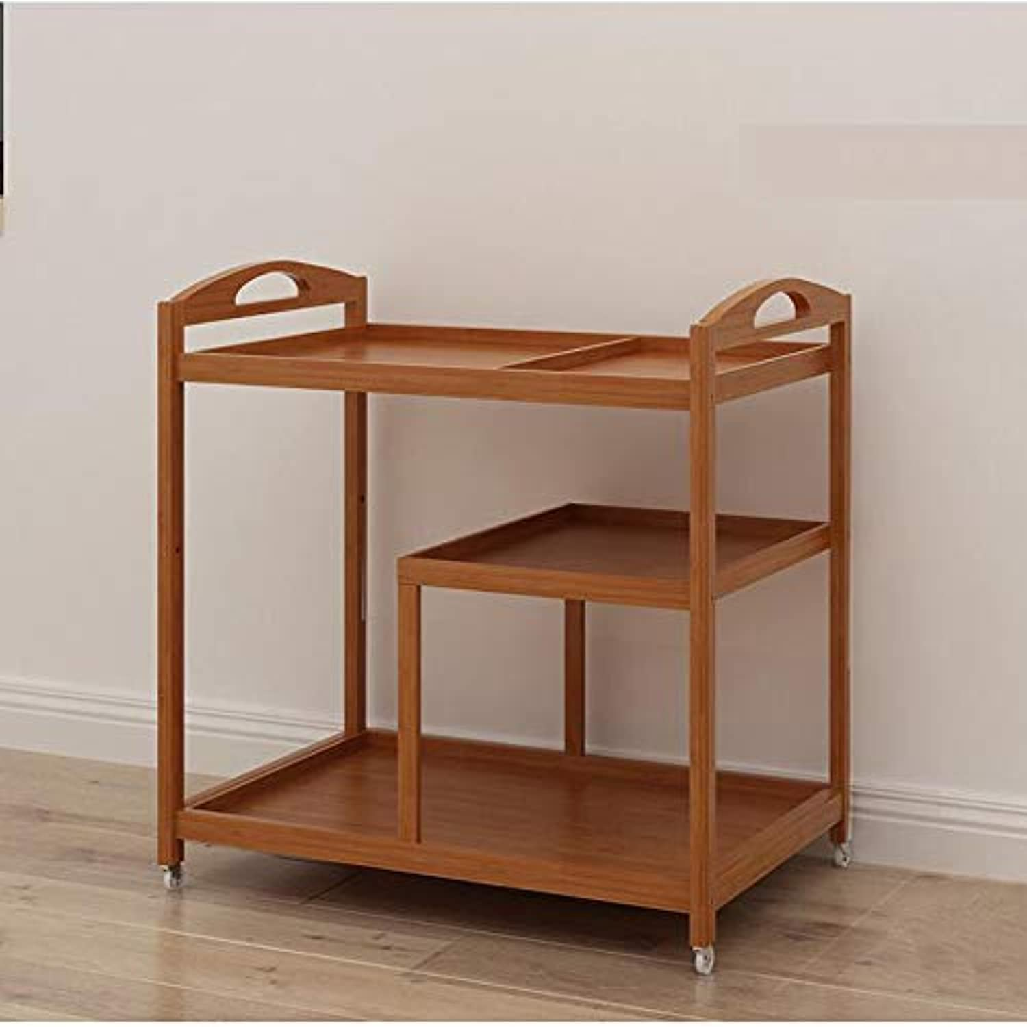 Kitchen Dining Rolling cart Trolley,Cuisine cart Wood 3-Tier Storage Shelves Trolley Simple Removable Serving cart for Kitchen Bar-A 70x42x73cm(28x17x29inch)