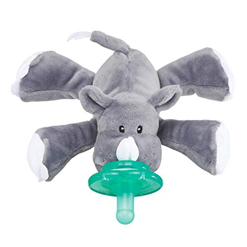 Nookums Paci-Plushies Buddies - Rhino Pacifier Holder - Adapts to Name Brand Pacifiers, Suitable for All Ages, Plush Toy Includes Detachable Pacifier